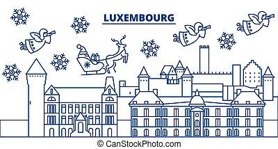 transzparens, boldog, áttekintés, vector., lakás, karácsony, karácsony, díszes, egyenes, újév, skyline., hó, város, luxemburg, card., claus., vidám, tél, ábra, szent, lineáris, köszönés
