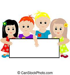 transzparens, csoport, gyerekek, birtok