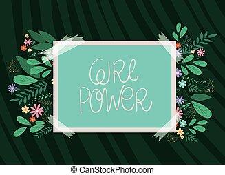 transzparens, erő, vektor, menstruáció, zöld, tervezés, leány
