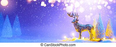 transzparens, fa, vagy, rénszarvas, köszönés, karácsony, santas, background;, havas, dekoráció, kártya