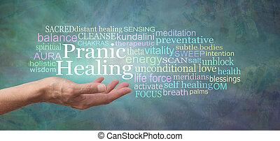 transzparens, gyógyulás, felhő, szó, pranic