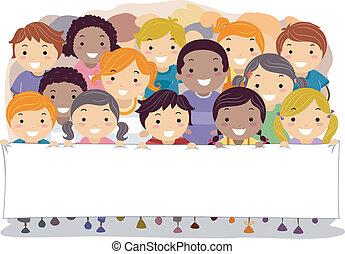 transzparens, gyerekek, birtok