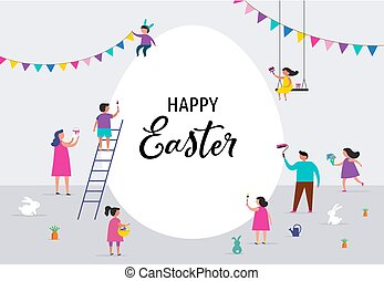 transzparens, gyerekek, család, húsvét, boldog