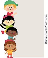 transzparens, gyerekek, függőleges, tiszta