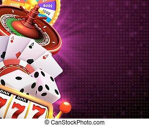transzparens, háttér., kaszinó, cégtábla, dobókocka