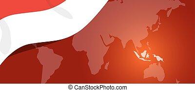 transzparens, indonézia, hazaszeretet, elhelyezés, világ, lobogó, teplate, piros, térkép, fehér