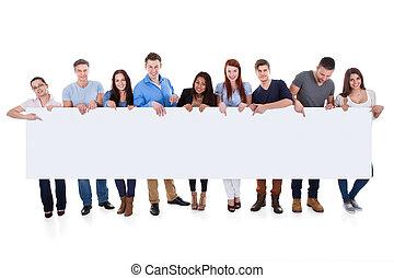 transzparens, különböző, csoport, átnyújtás, emberek