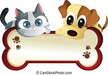 transzparens, kutya, macska