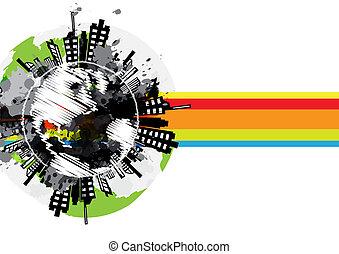 transzparens, városi, globális, tervezés, rajz