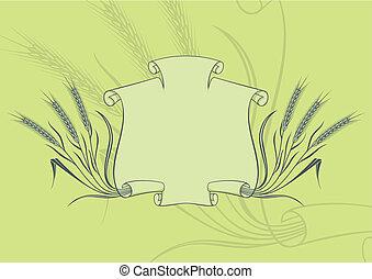transzparens, vektor, búza, zöld