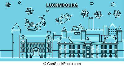 transzparens, vidám christmas, karácsony, vektor, díszes, lakás, újév, skyline., város, luxemburg, claus., vidám, tél, ábra, szent, lineáris, ünnepek