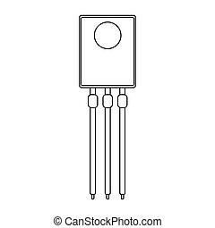 tranzisztor, icon., vektor, áttekintés, ábra