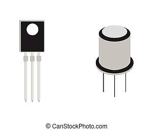 tranzisztor, isometric, vektor, icon., ábra