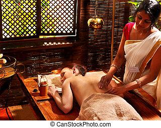 treatment., ásványvízforrás, nő, birtoklás, ayurvedic