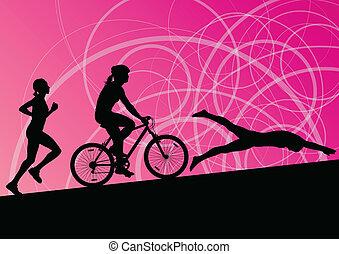 triathlon, úszás, kerékpározás, elvont, fiatal, gyűjtés, futás, vektor, ábra, háttér, aktivál, körvonal, sport, maratoni futás, nők