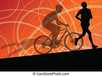 triathlon, kerékpározás, elvont, férfiak, fiatal, gyűjtés, futás, vektor, ábra, háttér, aktivál, körvonal, sport, maratoni futás, úszás