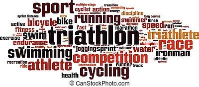 triathlon, szó, felhő