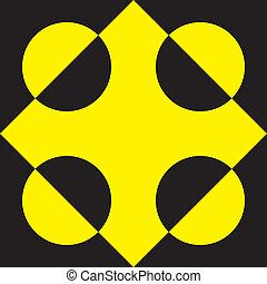 tridimensional, elvont, pseudo, sárga, elem, fekete, 4, háttér