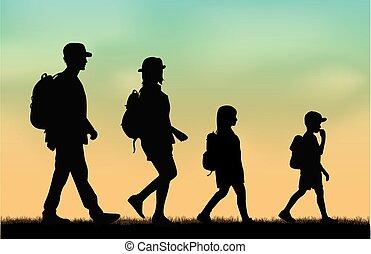 trip., hátizsák, család, elérő