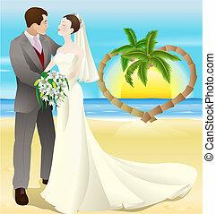 tropical célállomás, tengerpart esküvő