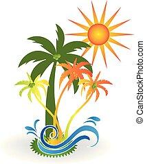 tropical sziget, paradicsom, tengerpart, jel