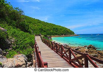 tropical sziget, tengerpart, móló