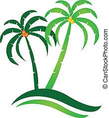 tropical sziget, vektor, jel