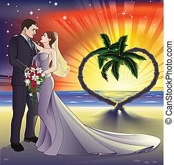 tropical tengerpart, ábra, esküvő