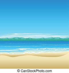 tropical tengerpart, háttér, ábra