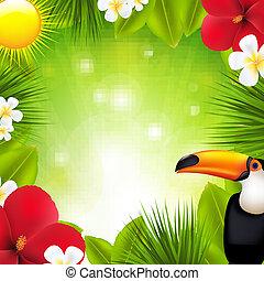 tropical virág, alapismeretek, zöld háttér