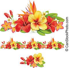 tropical virág, girland