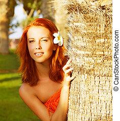 tropical woman, meglehetősen, természet