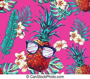 tropics., friss, szemüveg, egzotikus, print., pálma, nyomtatás, vektor, motívum, dzsungel, háttér., frangipani, virágos, design., ananász, zöld, tropikus, textile.