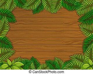 tropikus, alapismeretek, zöld, üres, fából való, háttér