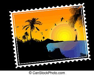 tropikus, bélyeg, postai, paradicsom