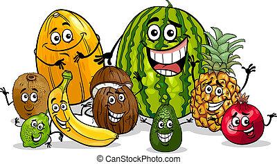 tropikus, csoport, karikatúra, ábra, gyümölcs