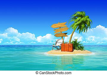 tropikus, fogalom, signpost., fából való, sziget, bőrönd, három, erőforrás, travel., ünnepek, fa, pálma, üres, maradék, cséza, dezertál, ácsorog