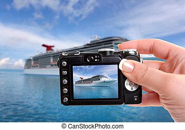 tropikus, hajó, fotográfia