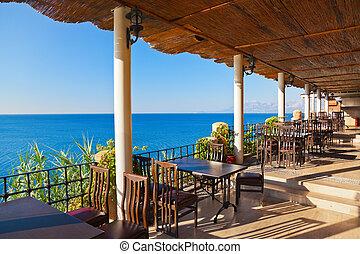 tropikus, kávéház, tengerpart