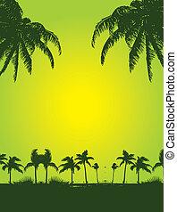 tropikus, művészet, pálma, vektor, tengerpart