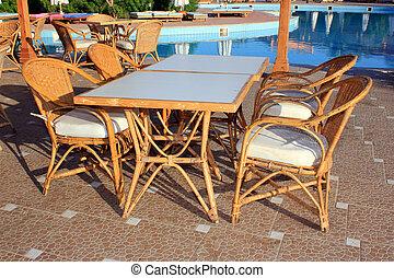 tropikus, nyár, kávéház, tengerpart
