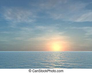 tropikus, nyílik, napkelte, háttér, tenger
