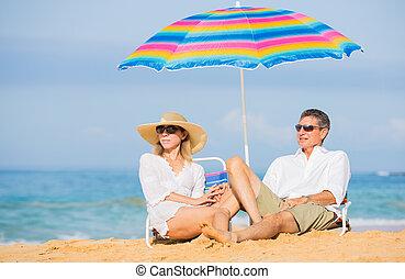 tropikus, párosít, tengerpart, bágyasztó