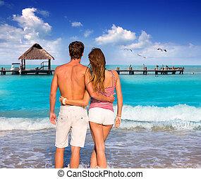 tropikus, párosít, tengerpart, fiatal, természetjáró
