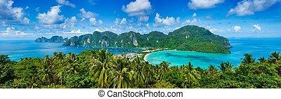 tropikus, panoráma, sziget
