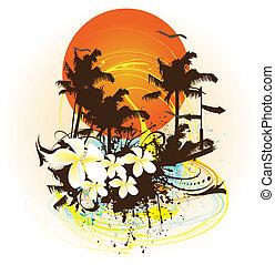 tropikus, színes, tervezés