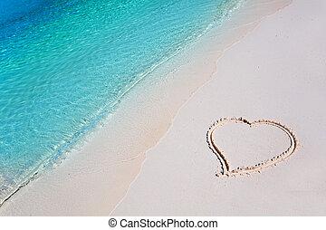 tropikus, szív, homok tengerpart, paradicsom