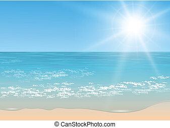 tropikus, vektor, sea.