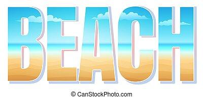 tropikus, vektor, tengerpart