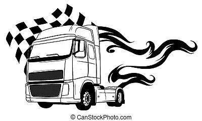 truck., karikatúra, tervezés, semi, vektor, ábra